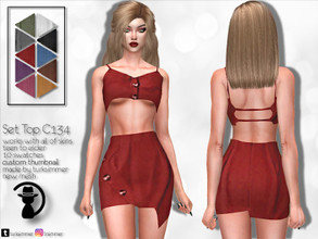 Sims 4 — Set Top C134 by turksimmer — 10 Swatches Works with all of skins Custom Thumbnail New Mesh All Lods Teen to