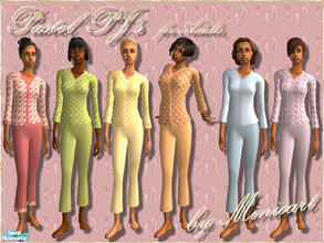 Sims 2 — Pastel PJ's for Adults by minicart — A set of pretty pyjamas for your adult Sim in pink, blue, yellow, lilac,