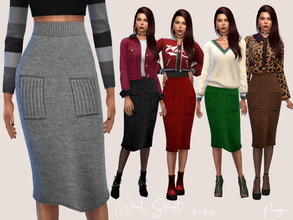 Sims 4 — Wool Skirt by Paogae — Wool skirt, high waisted, length below the knee, in eight autumn and winter colors, to be