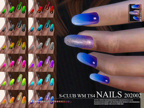 Sims 4 — S-Club ts4 WM Nails 202002 by S-Club — Nails, 15 swatches, thank you.