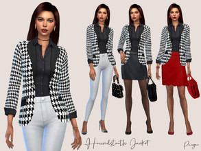 Sims 4 — Houndstooth Jacket by Paogae — Women's jacket with black and white houndstooth pattern, black blouse, always