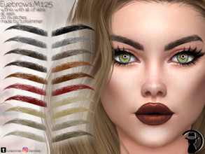 Sims 4 — Eyebrows M125 by turksimmer — 20 Swatches Works with all of skins Custom Thumbnail All ages For; Female