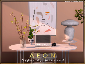 Sims 4 — Aeon Office by Winner9 — Minimalistic office set in pastel colors. This set contains: 1) Desk 2) Desk chair 3)