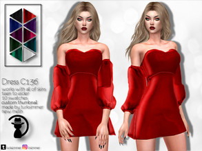 Sims 4 — Dress C136 by turksimmer — 10 Swatches Works with all of skins Custom Thumbnail New Mesh All Lods Teen to Elder