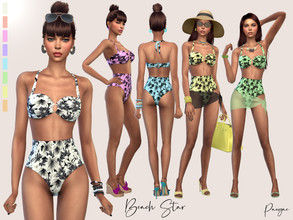 Sims 4 — BeachStar by Paogae — Bikini with a slightly retro style with modern touches, bandeau top and high-waisted