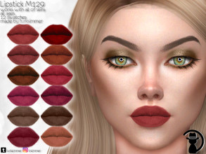 Sims 4 — Lipstick M129 by turksimmer — 12 Swatches Works with all of skins Custom Thumbnail All ages For; Female