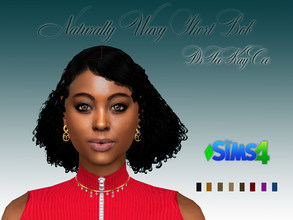 Sims 4 — Naturally Wavy Short Bob by drteekaycee — A neat curly short bob that is for the natural hair enthusiasts. Your