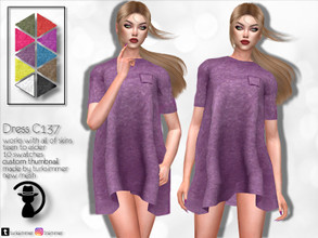 Sims 4 — Dress C137 by turksimmer — 10 Swatches Works with all of skins Custom Thumbnail New Mesh All Lods Teen to Elder