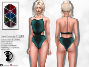 Sims 4 — Swimwear C138 by turksimmer — 10 Swatches Works with all of skins Custom Thumbnail New Mesh All Lods Teen to