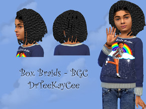 Sims 4 — Girl's Box Braids - Base Compatible by drteekaycee — This lovely natural hairstyle is for your young sims.