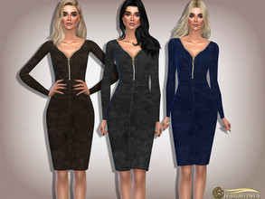 Sims 4 — Plunging Front Collar Zipper Velvet Dress by Harmonia — 10 DARK color Please do not use my textures. Please do
