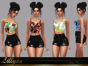 Sims 4 — Top Cassandra by LYLLYAN — Top in 10 prints. Base game.