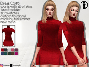Sims 4 — Dress C139 by turksimmer — 10 Swatches Works with all of skins Custom Thumbnail New Mesh All Lods Teen to Elder