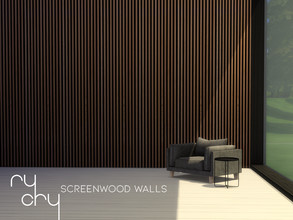 Sims 4 — RyCry's Screen Wood Walls by rl2802 — A standard but elegant looking screen wood wall paneling texture, in pale