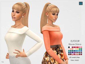 Sims 4 — Blouse Diana by Elfdor — - 40 swatches - new mesh all LODs - teen to elder - everyday, formal, party - base game