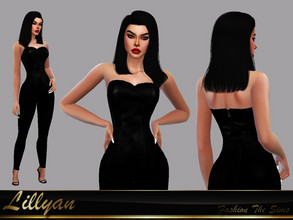 Sims 4 — Jumpsuit Leandra by LYLLYAN — Leather jumpsuit. Zipper detail. 1 model. Base game