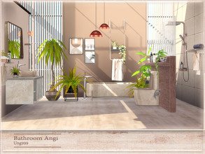 Sims 4 — Bathroom Angi by ung999 — A new bathroom set which includes the following 8 items: ( Decor objects in preview to