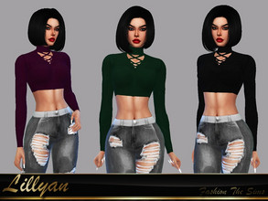 Sims 4 — Top Bruna by LYLLYAN — Top in 5 colors. Base game.
