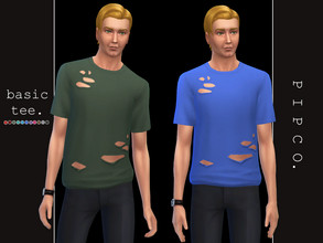 Sims 4 — pipco - basic tee (ripped). by Pipco — a simple ripped tee. 12 swatches base game compatible ea mesh edit all