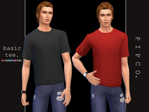 Sims 4 — pipco - basic tee. by Pipco — a simple, comfy tee. 12 swatches base game compatible ea mesh edit all lods custom
