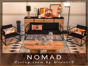 Sims 4 — Nomad Living Room by Winner9 — Minimal sleek looking living room set with natural vibes. This set contains: 1)