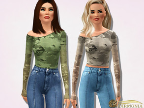 Sims 3 — Asymmetric Camouflage-print Top by Harmonia — 3 color. recolorable Please do not use my textures. Please do not