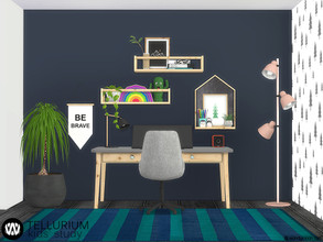Sims 4 — Tellurium Kids Study Room by wondymoon — Tellurium Kids Study Room and decorations! Have fun! - Set Contains *