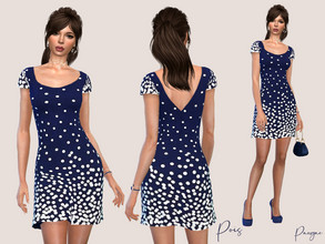 Sims 4 — Pois by Paogae — A timeless polka dot short dress, always elegant, always fashionable, only in blue, perfect for