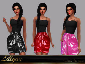 Sims 4 — Sandy leather skirt by LYLLYAN —  Leather skirt in 3 colors . Base game.