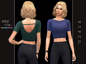 Sims 4 — pipco - amy top. by Pipco — a simple, stylish top. 10 swatches base game compatible ea mesh edit all lods custom