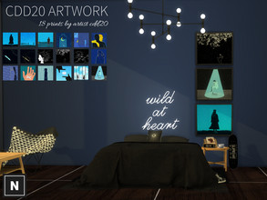 Sims 4 — netsims - cdd20 art by networksims — 3 framed canvases with six swatches each of various art by cdd20. Uses a