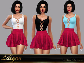Sims 4 — Top Marcely by LYLLYAN — Top in 5 colors. Base game.
