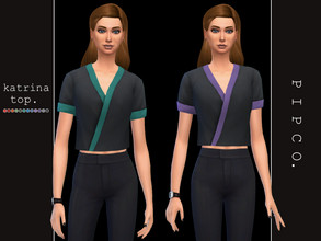Sims 4 — pipco - katrina top. by Pipco — a stylish blouse with a pop of color. 12 swatches base game compatible male to