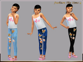 Sims 4 — Alice children's jeans by LYLLYAN — Jeans in 5 colors. Base game .