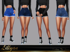 Sims 4 — Short jeans Bianca by LYLLYAN — Short jeans in 6 colors . Base game.