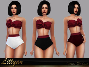Sims 4 — Bikini Vamp by LYLLYAN — Bikini in 1 model. 3 colors bottoms. Base game.