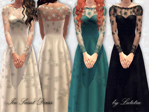 Sims 3 — Ice Saint Dress by Lutetia — A long elegant and wintery dress with lace details ~ Teen and YA/A female ~