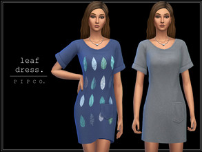 Sims 4 — pipco - leaf dress. by Pipco — a cute, comfy dress. 10 swatches base game compatible ea mesh edit all lods