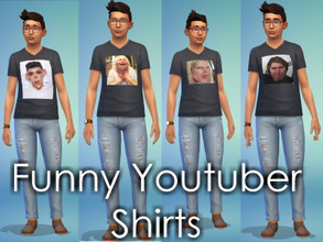 Sims 4 — Funny Youtubers Tee by ZWHsims — a tee with youtubers on it