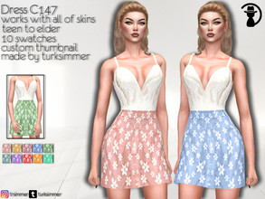 Sims 4 — Dress C147 by turksimmer — 10 Swatches Works with all of skins Custom Thumbnail New Mesh All Lods Teen to Elder