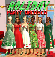 Sims 2 — Holiday Party Dresses! by Shannanigan — Perfect set of Retro Party Dresses for your Sims Winter Celebrations!