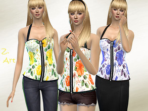 Sims 4 — TopZ. 08 by Zuckerschnute20 — A fashionable top with a neck holder and zip :D 3 colors CAS thumbnail