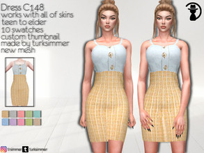 Sims 4 — Dress C148 by turksimmer — 10 Swatches Works with all of skins Custom Thumbnail New Mesh All Lods Teen to Elder