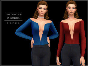 Sims 4 — pipco - veronica blouse. by Pipco — a stylish, dramatic blouse. 10 swatches base game compatible ea mesh edit