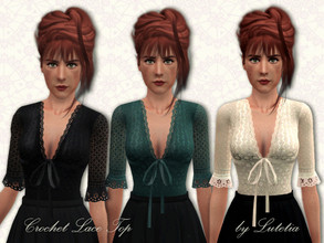 Sims 3 — Crochet Lace Top by Lutetia — A cute crocheted top with bow and lace details ~ Teen and YA/A female ~