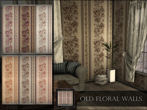 Sims 4 — Old Floral Walls by RemusSirion — Old Floral Walls Preview picture was done in game with light reshade applied 6