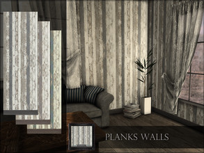 Sims 4 — Planks Walls by RemusSirion — Planks Walls Preview picture was done in game with reshade applied 3 swatches