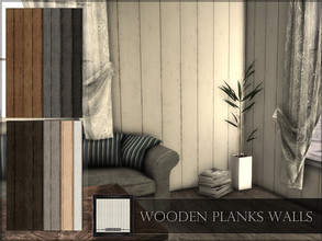 Sims 4 — Wooden Planks Walls by RemusSirion — Wooden Planks Walls Preview picture was done in game with light reshade