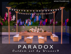 Sims 4 — Paradox Outdoor by Winner9 — Outdoor set with cozy and colorful lightings, which can be used in a different
