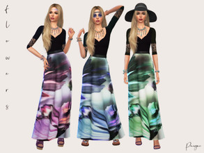 Sims 4 — Flowers by Paogae — Nice long dress, black bodice and floral skirt, in three colors, can be elegant or casual